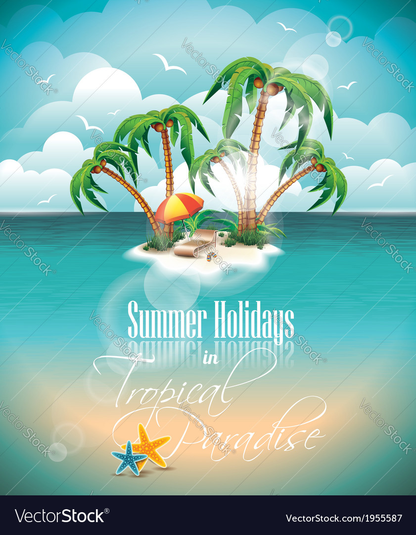 On a summer holiday theme with paradi vector | Price: 3 Credit (USD $3)