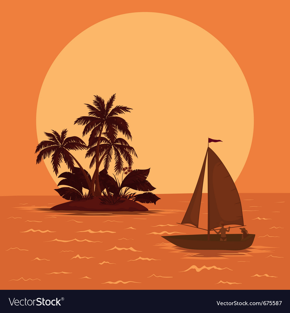 Sailing boat tropical sea vector | Price: 1 Credit (USD $1)