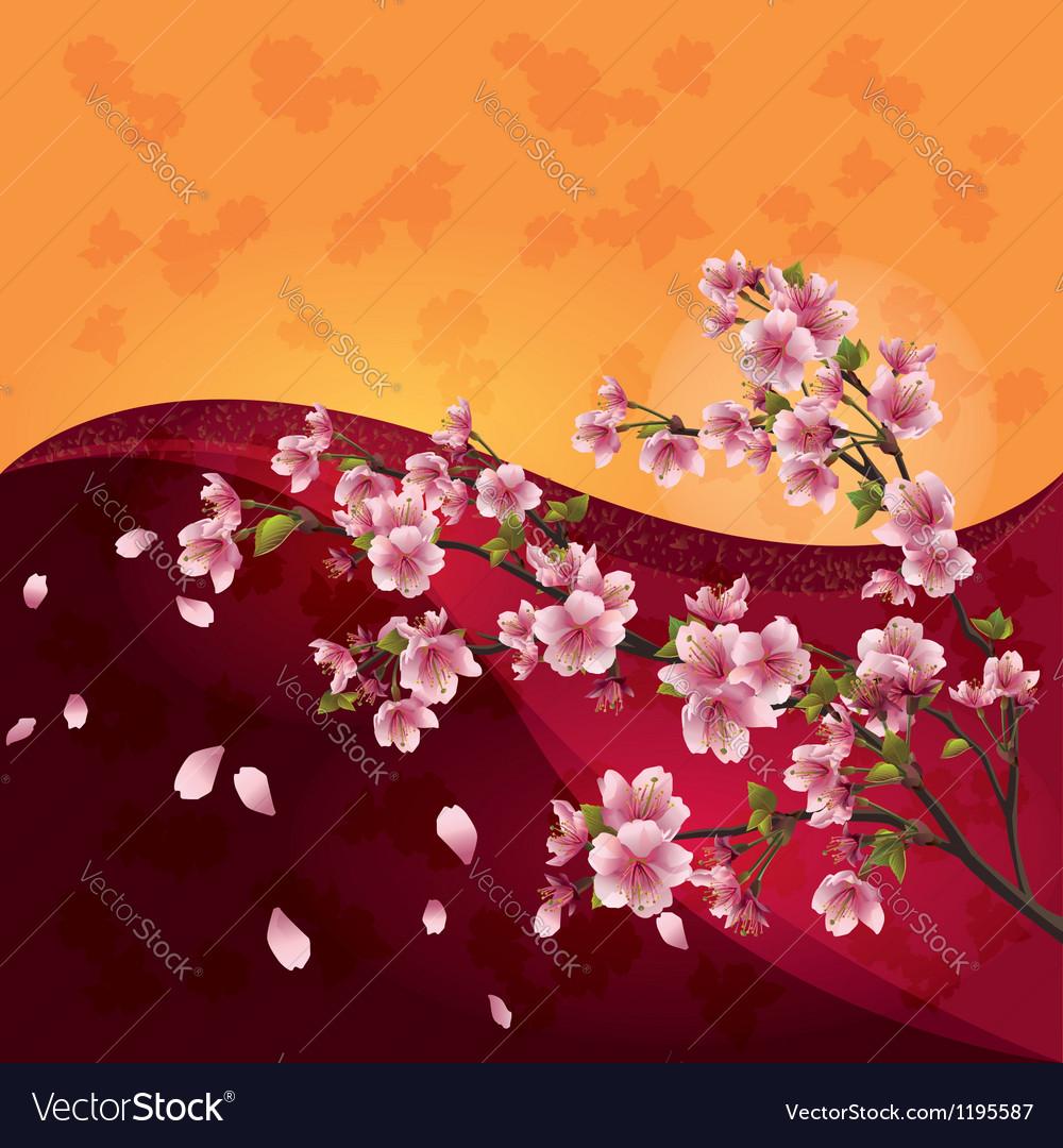 Sakura blossom japanese cherry tree on bright vector | Price: 1 Credit (USD $1)
