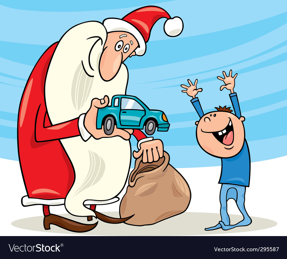 Santa claus and little boy vector | Price: 3 Credit (USD $3)