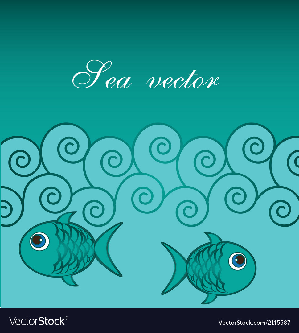 Sea with fishes vector | Price: 1 Credit (USD $1)