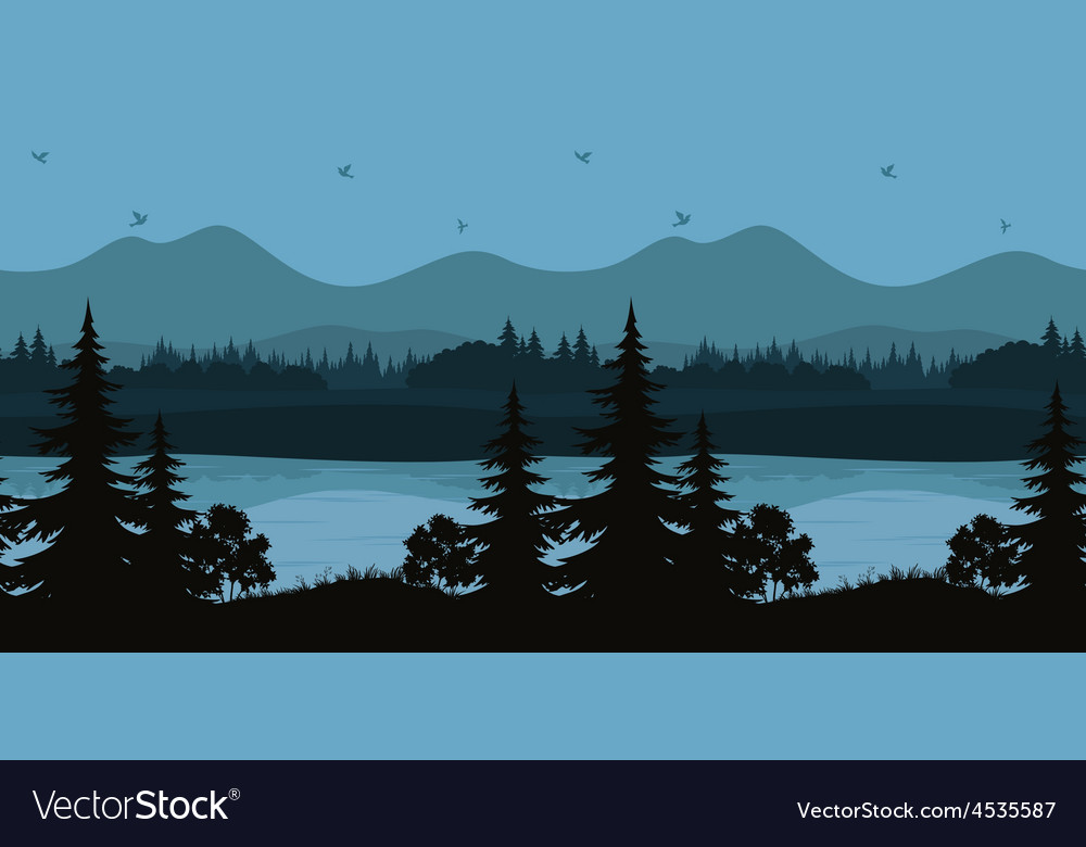 Seamless landscape trees and mountain lake vector | Price: 1 Credit (USD $1)