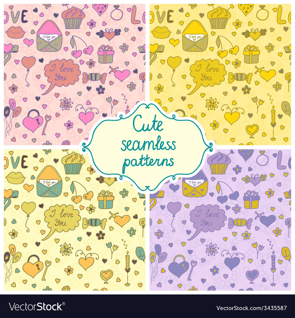 Set of romantic seamless pattern in vector | Price: 1 Credit (USD $1)