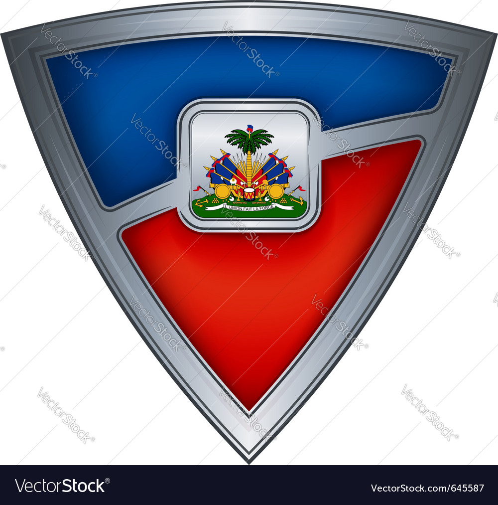 Steel shield with flag haiti vector | Price: 1 Credit (USD $1)