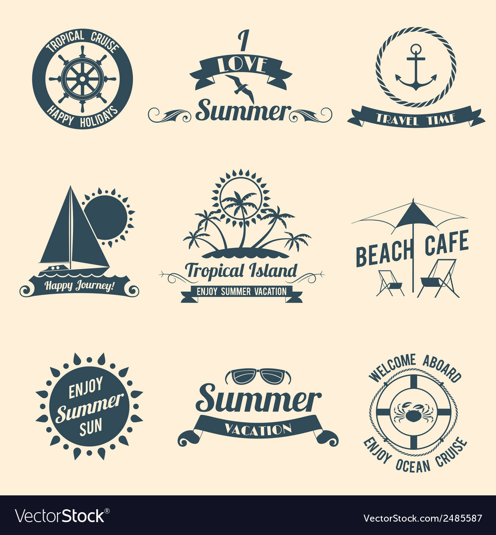 Summer sea emblems black vector | Price: 1 Credit (USD $1)