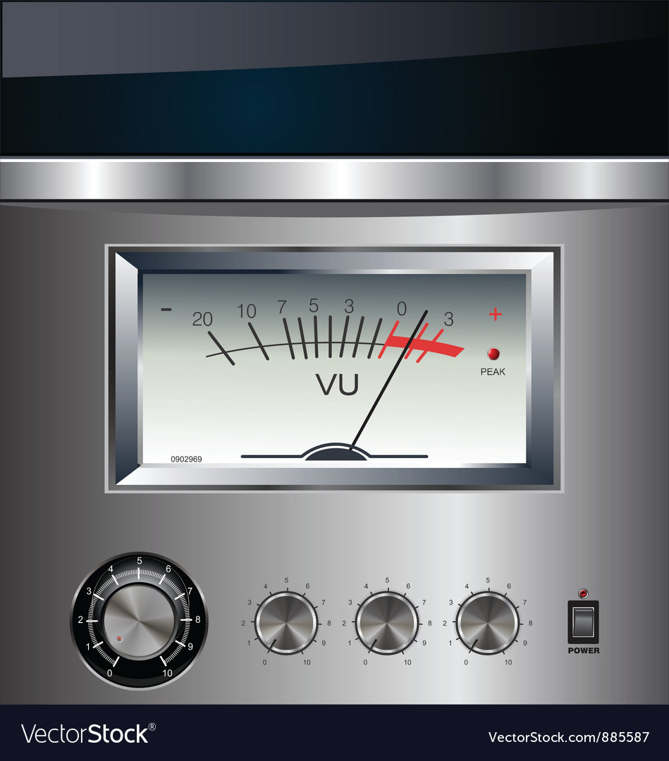 Vu meter on silver background vector | Price: 1 Credit (USD $1)