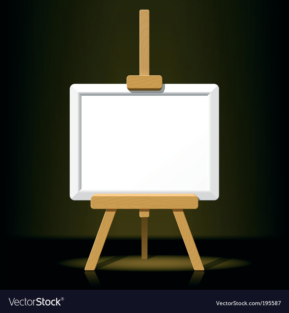 Wooden easel with blank canvas vector | Price: 3 Credit (USD $3)