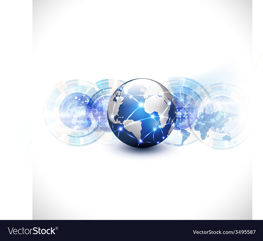 World network communication and technology concept vector | Price: 1 Credit (USD $1)