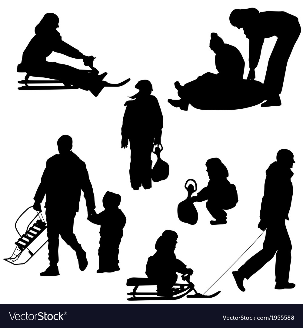 Black silhouettes set people and children with a vector | Price: 1 Credit (USD $1)