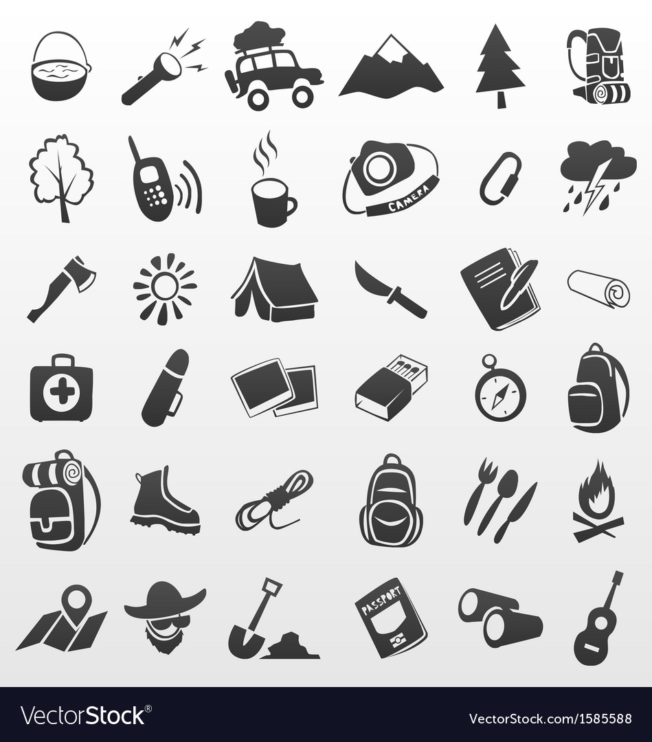 Camping icons travel icons vector | Price: 1 Credit (USD $1)