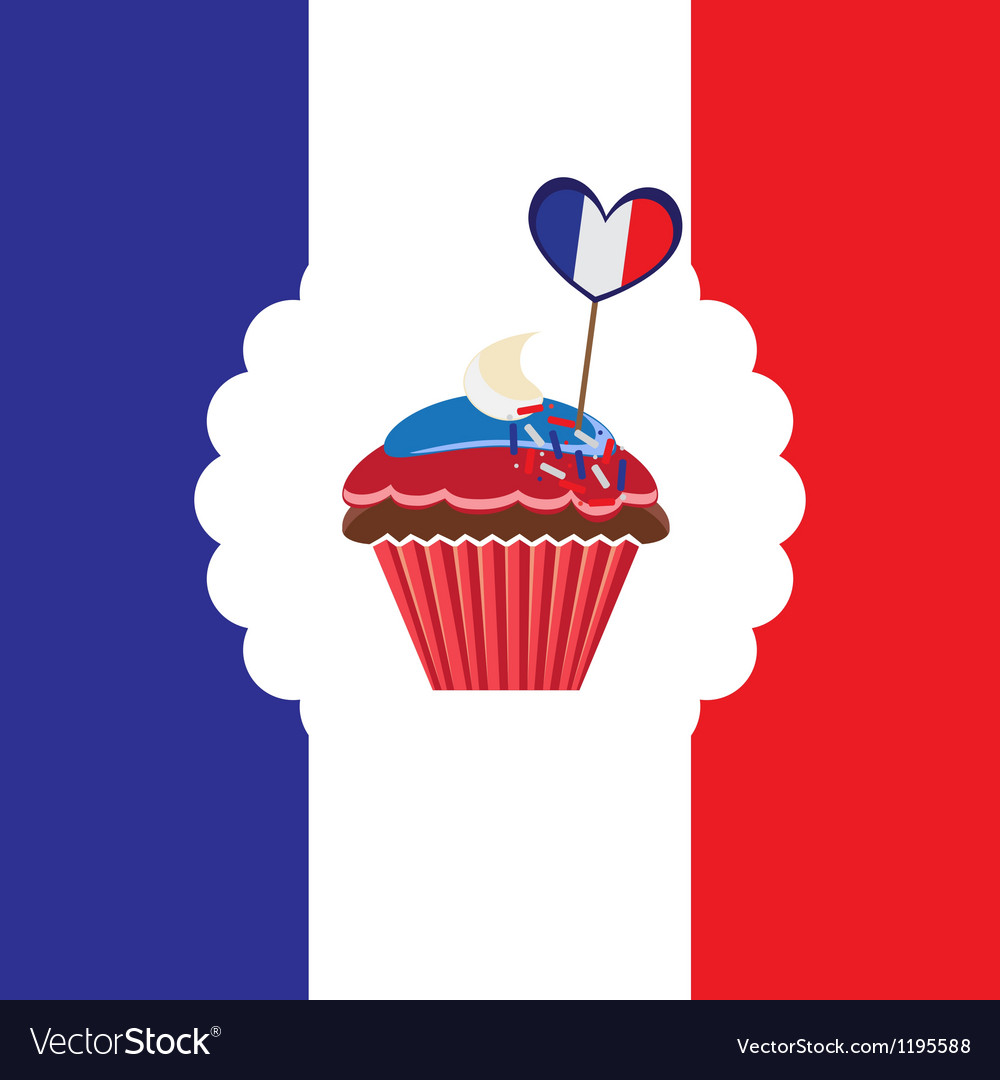Cupcake in french traditional colors vector | Price: 1 Credit (USD $1)