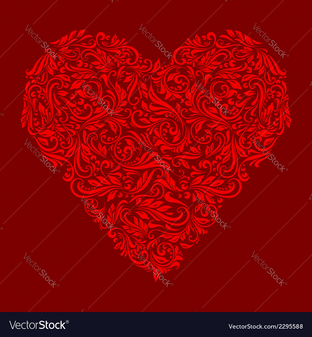 Decorated red heart vector | Price: 1 Credit (USD $1)