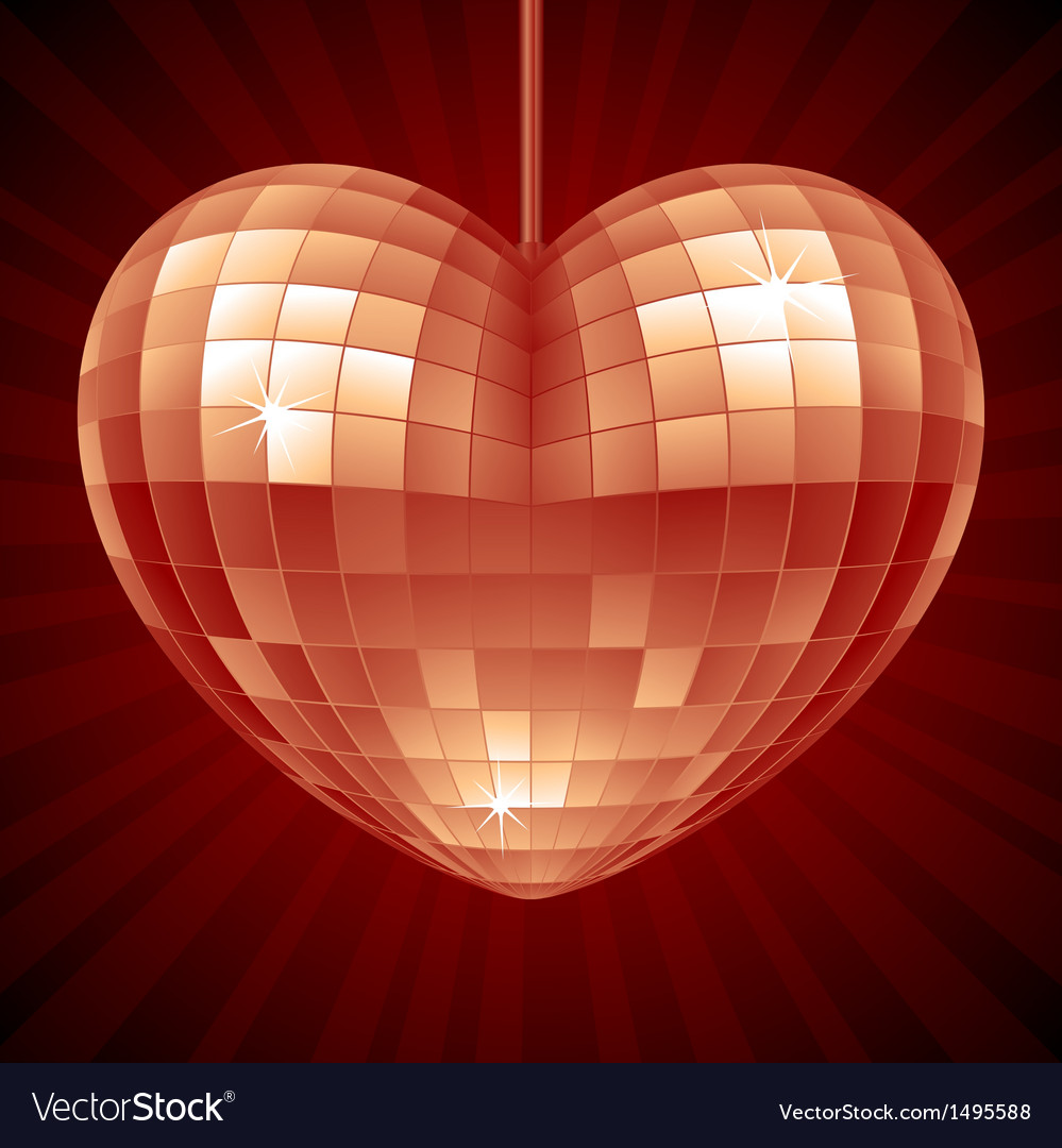 Disco heart red mirror disco ball vector | Price: 1 Credit (USD $1)
