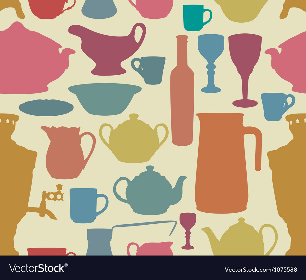 Dishes silhouettes seamless vector | Price: 1 Credit (USD $1)