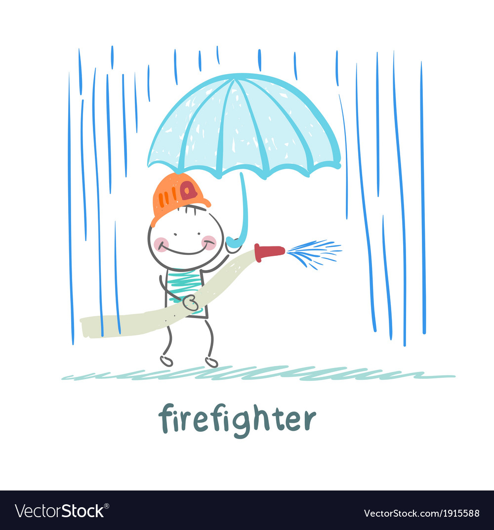 Firefighter stands in the rain with an umbrella vector | Price: 1 Credit (USD $1)