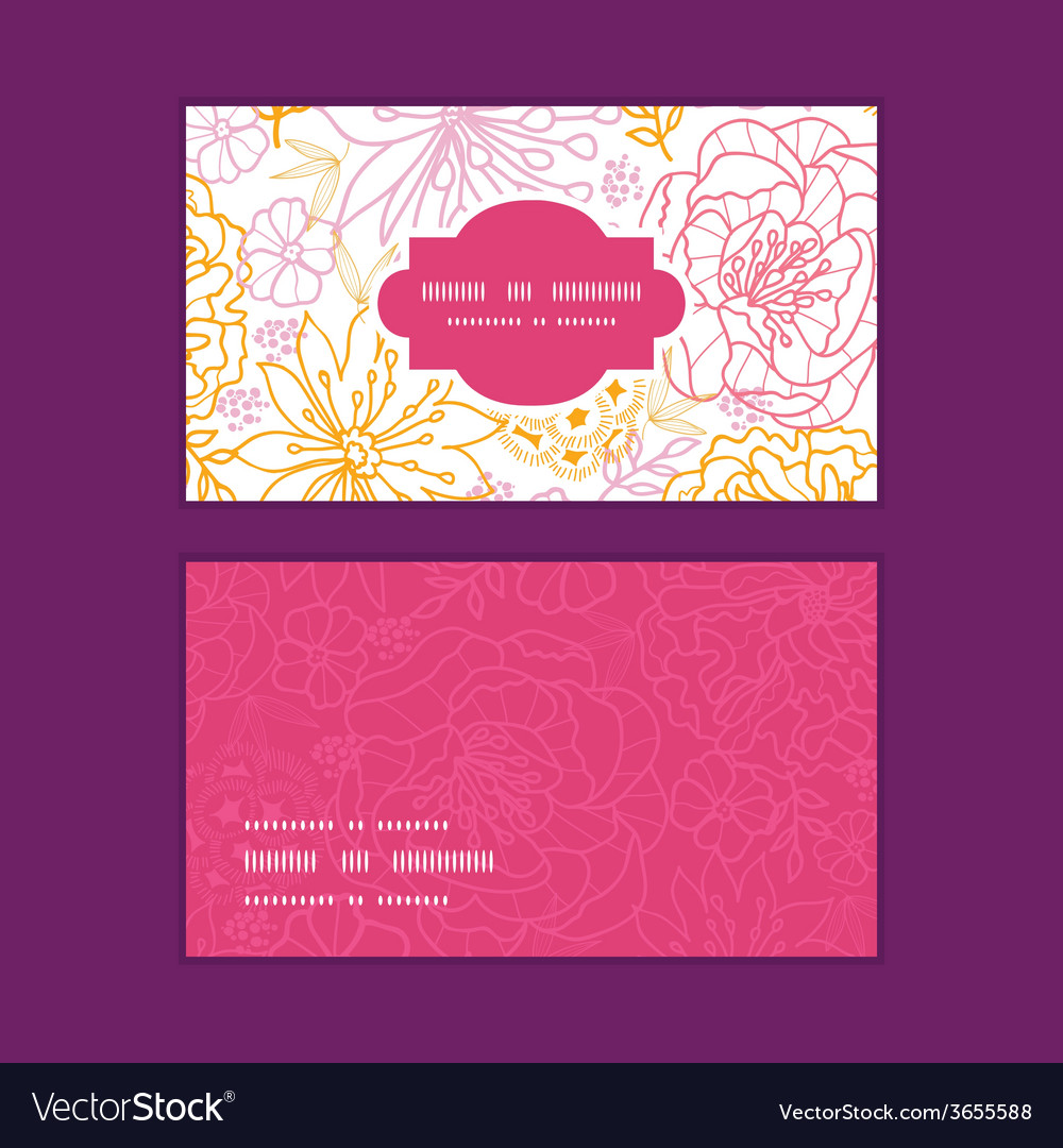 Flowers outlined horizontal frame pattern business vector | Price: 1 Credit (USD $1)