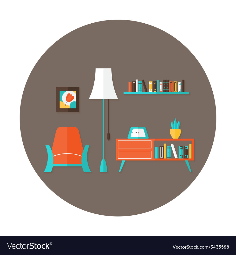 Living room flat circle icon over brown vector | Price: 1 Credit (USD $1)