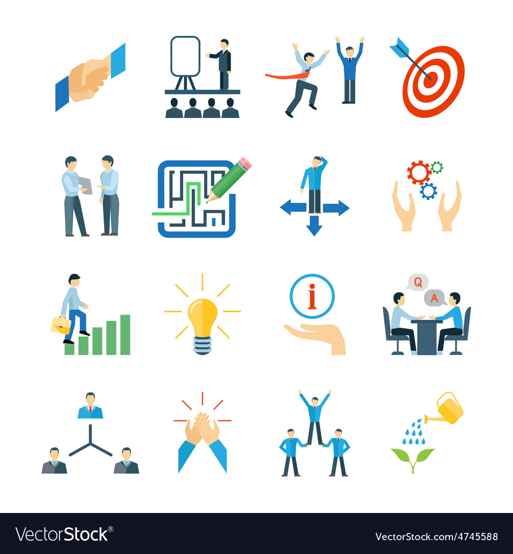 Mentoring icons flat set vector | Price: 1 Credit (USD $1)