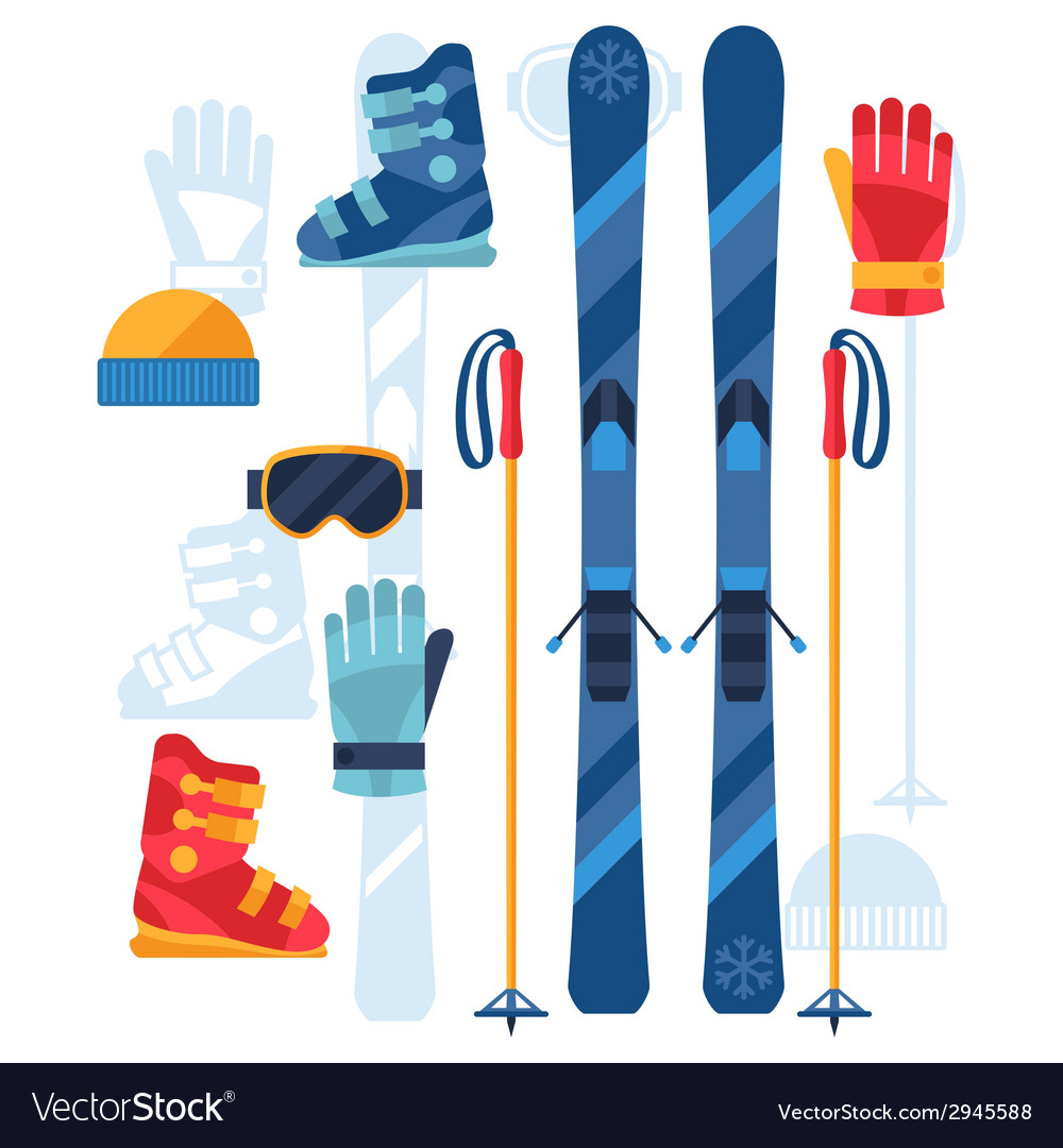 Skiing equipment icons set in flat design style vector | Price: 1 Credit (USD $1)