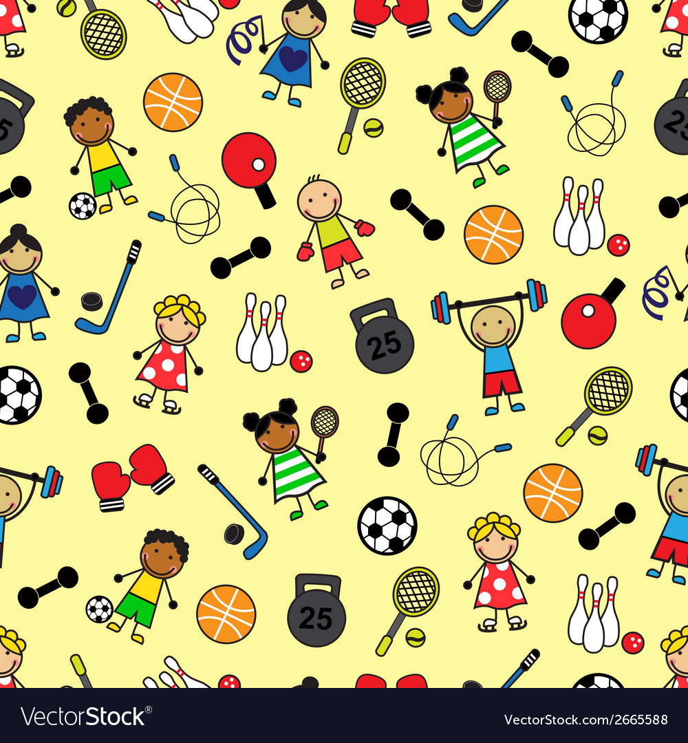 Sport equipment and children vector | Price: 1 Credit (USD $1)
