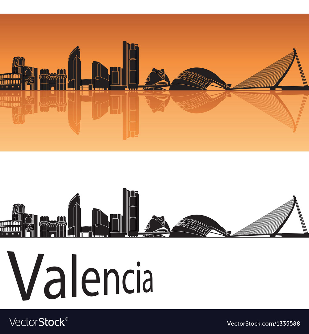 Valencia skyline in orange background vector | Price: 1 Credit (USD $1)