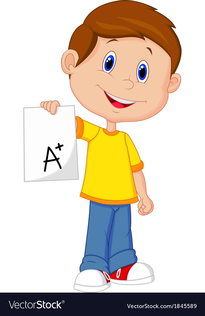 Boy cartoon showing a plus grade vector | Price: 1 Credit (USD $1)