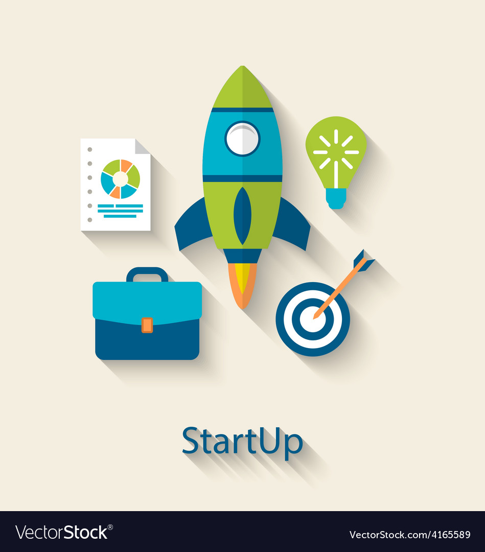 Concept of new business project startup vector | Price: 1 Credit (USD $1)
