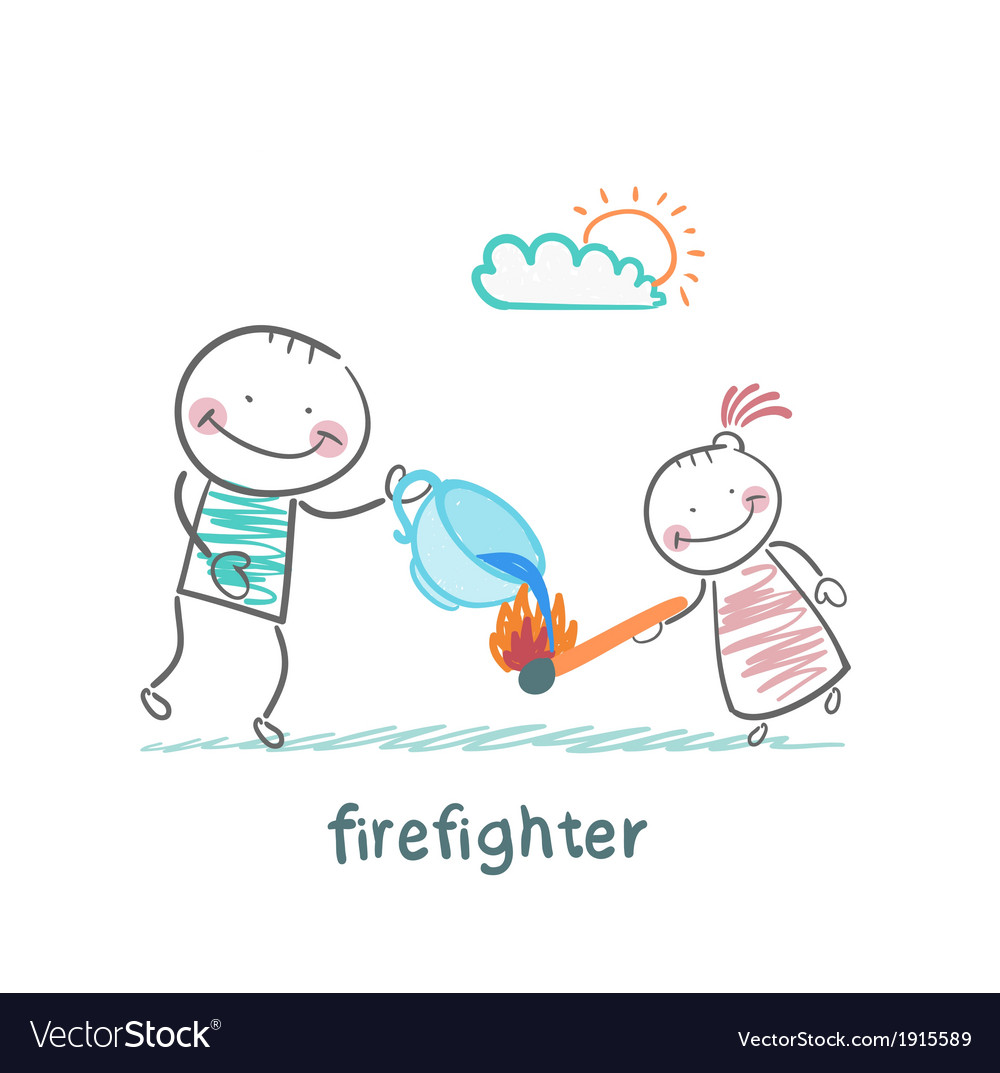 Firefighter sprays water on a burning stick out of vector | Price: 1 Credit (USD $1)