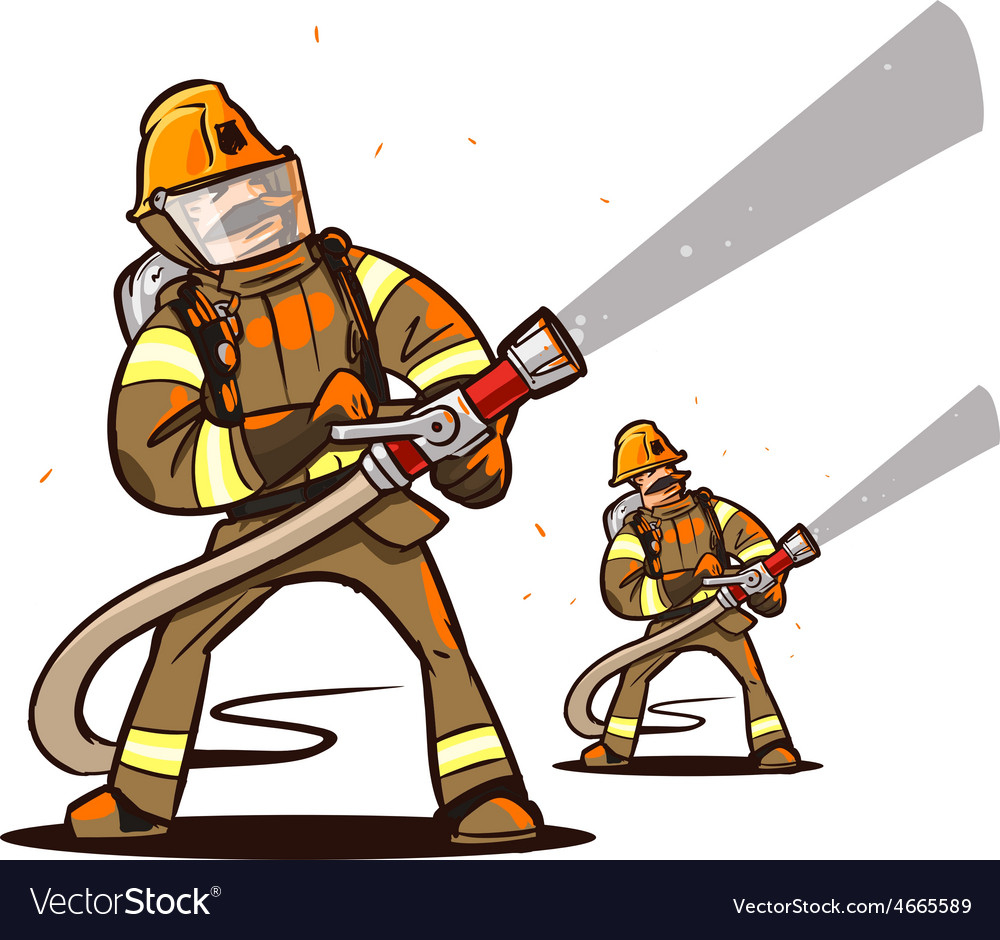 Firefighter with the hose vector | Price: 3 Credit (USD $3)