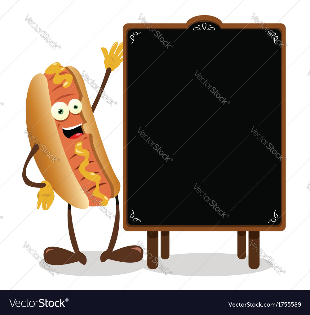 Funny hot dog and a blackboard vector | Price: 1 Credit (USD $1)