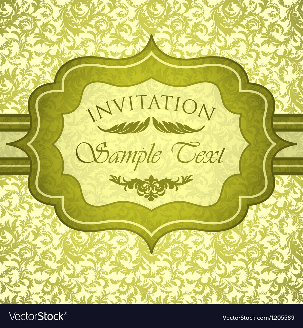 Green vintage invitation with antique floral vector | Price: 1 Credit (USD $1)