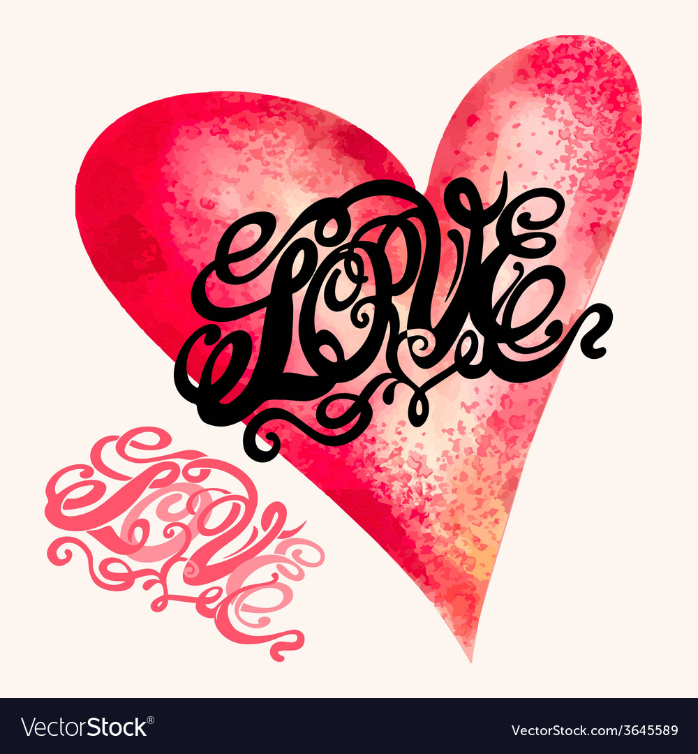 Heart symbol of love and valentines day lettering vector | Price: 1 Credit (USD $1)