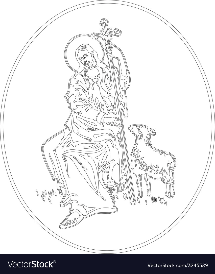Jesus the shepherd vector | Price: 1 Credit (USD $1)