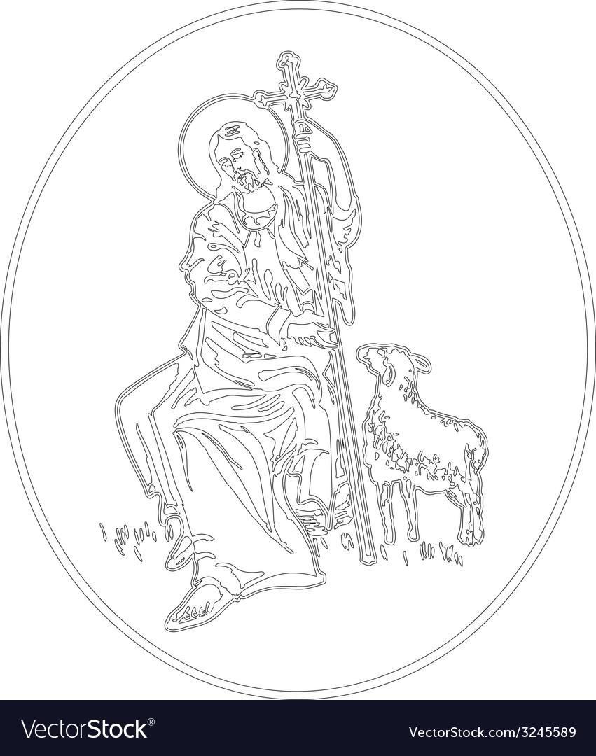 Jesus the shepherd vector | Price: 1 Credit (USD $1)