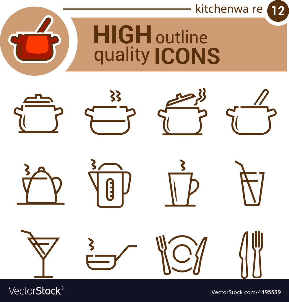 Kitchenware line icons vector   Price: 1 Credit (USD $1)