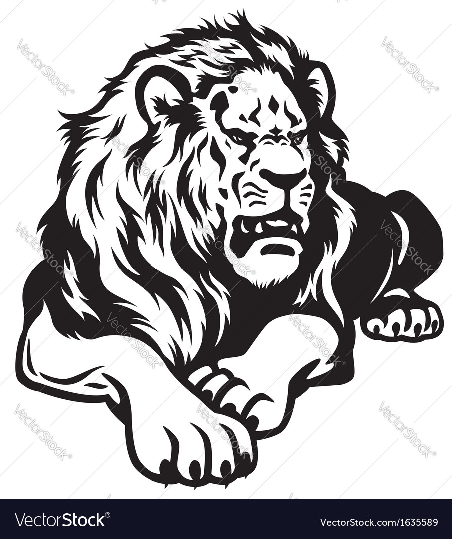 Lion black white vector | Price: 1 Credit (USD $1)