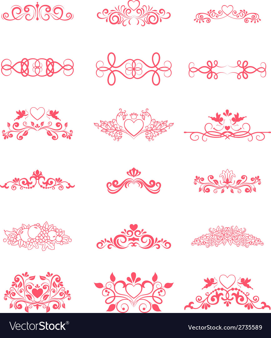 Pink decorative curly elements vector | Price: 1 Credit (USD $1)