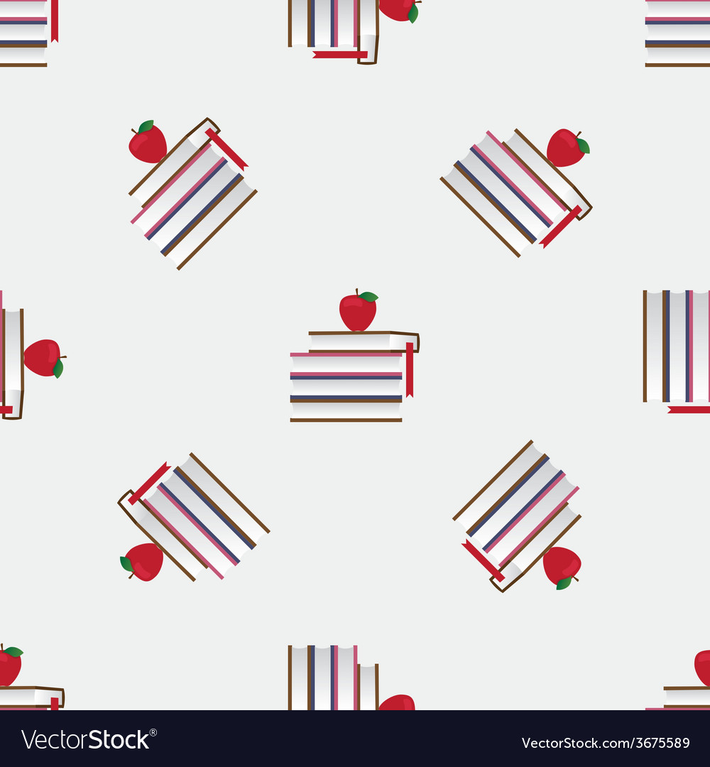 Seamless pattern with red apples and books vector | Price: 1 Credit (USD $1)