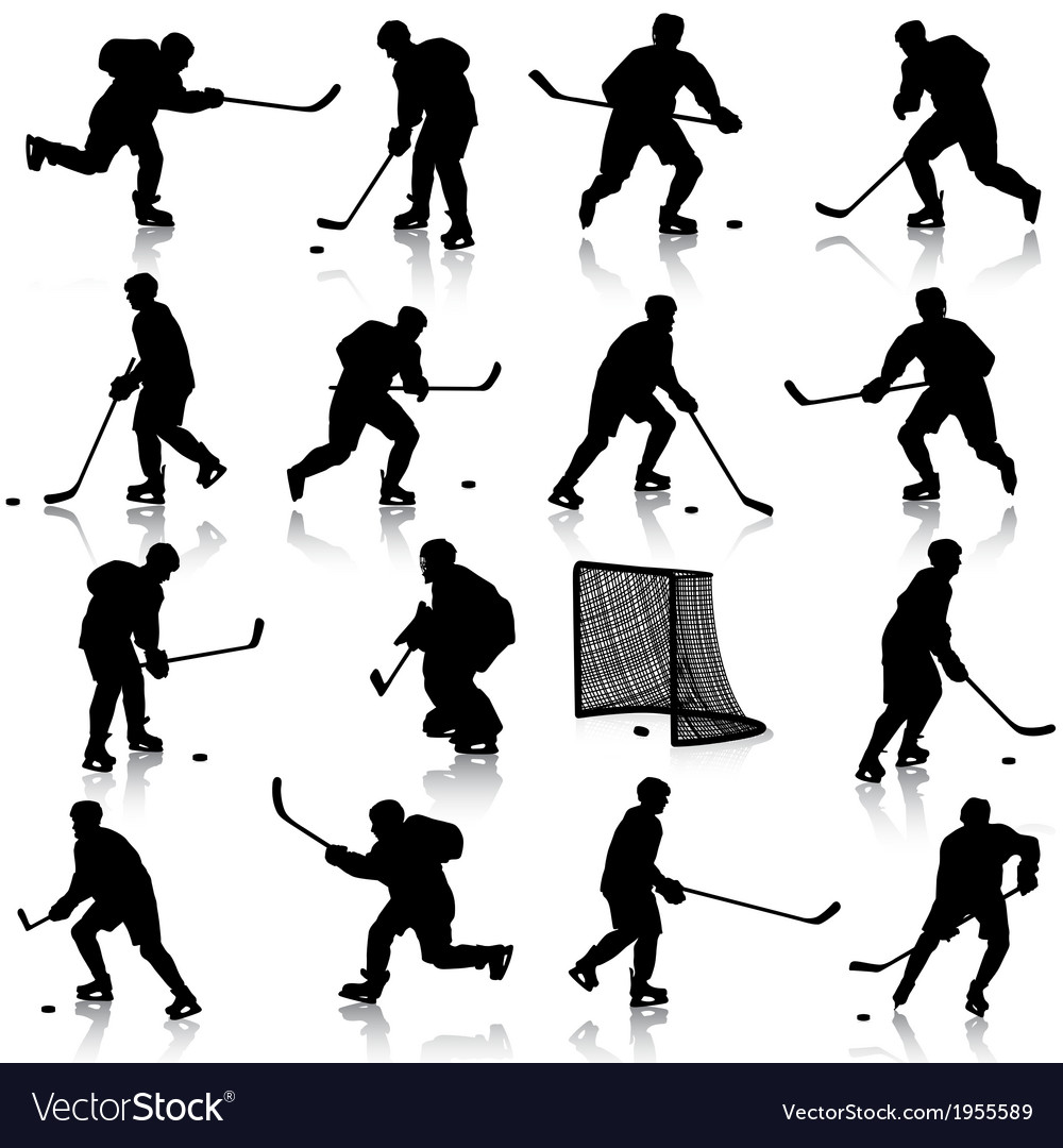 Set of silhouettes of hockey player isolated on vector | Price: 1 Credit (USD $1)