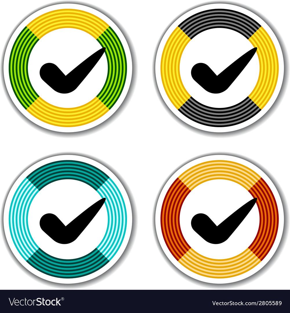 Striped checkmark stickers vector | Price: 1 Credit (USD $1)