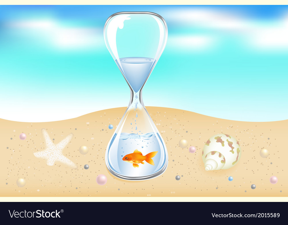 Water clock on seaside vector | Price: 1 Credit (USD $1)