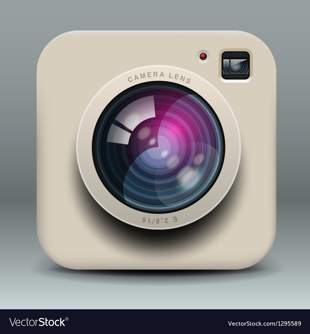 White photo camera icon vector | Price: 1 Credit (USD $1)
