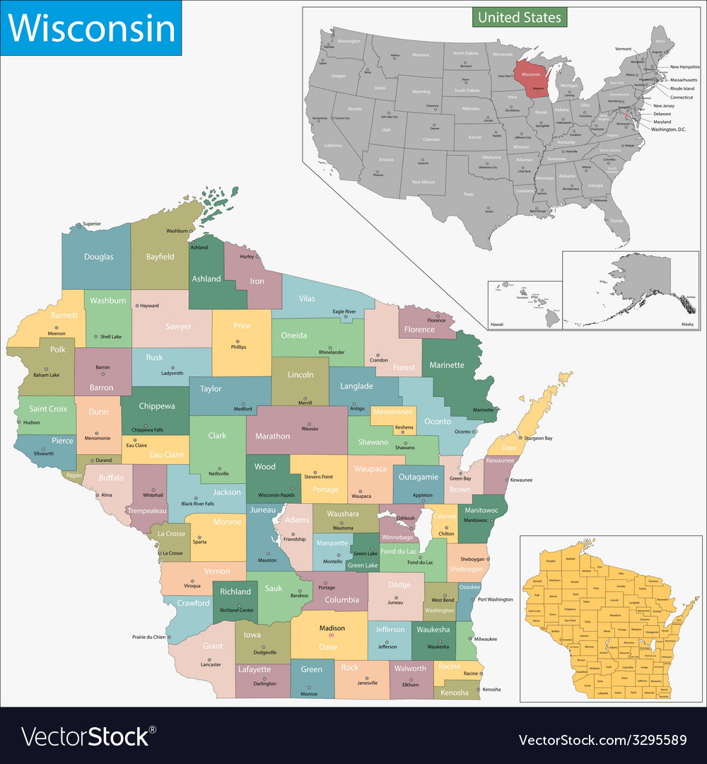 Wisconsin map vector | Price: 1 Credit (USD $1)