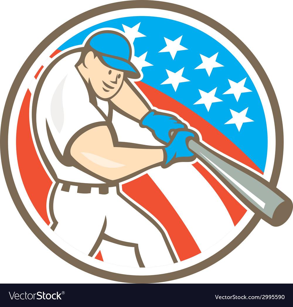 American baseball player batting circle cartoon vector | Price: 1 Credit (USD $1)