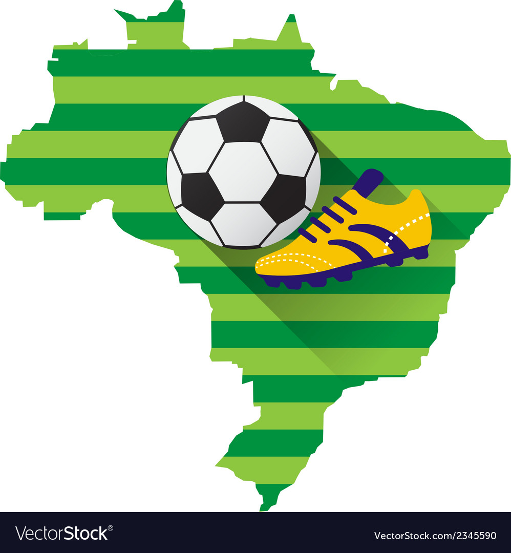 Brazil map with soccer ball vector | Price: 1 Credit (USD $1)