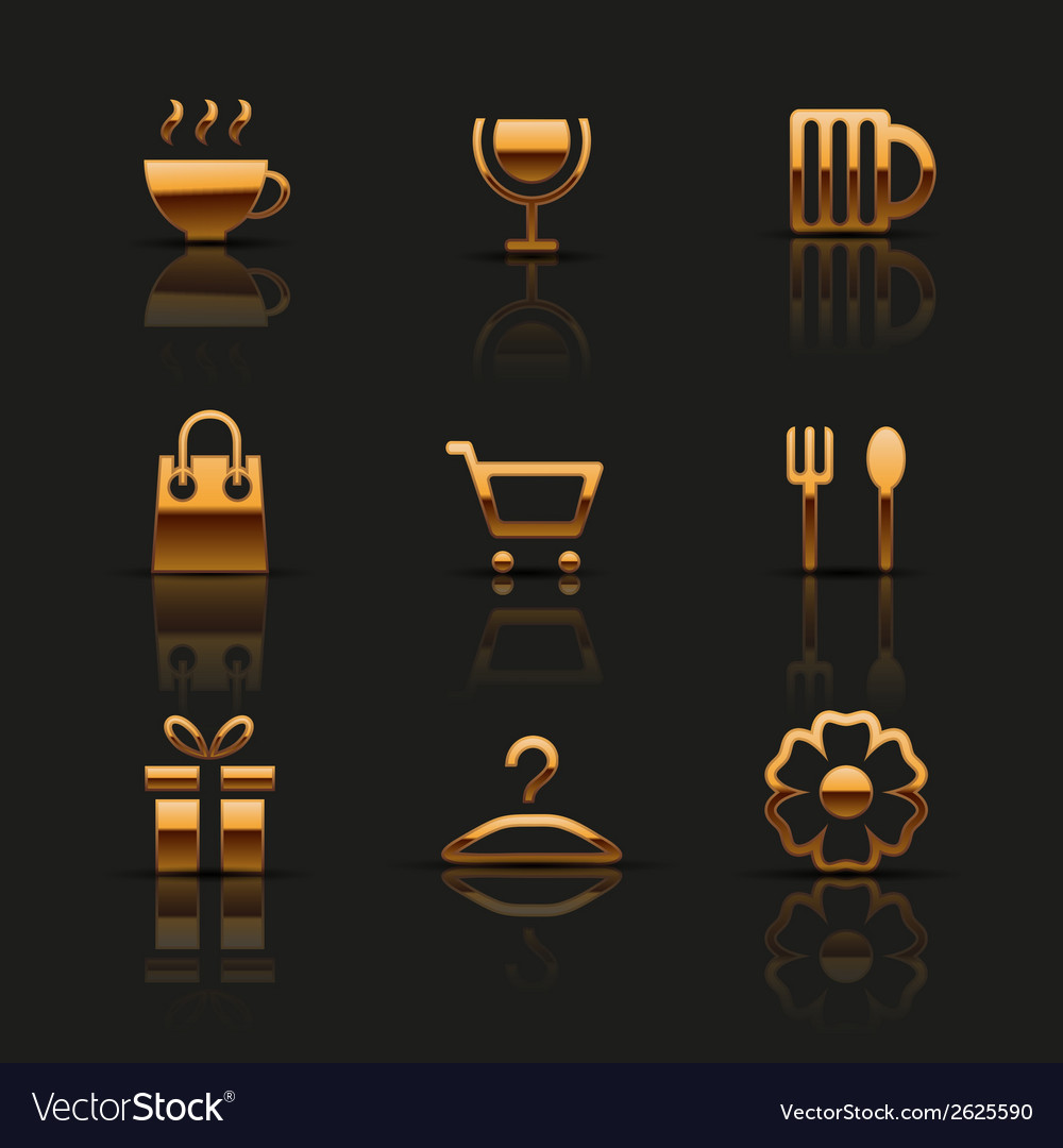 Golden web icons set vector | Price: 1 Credit (USD $1)