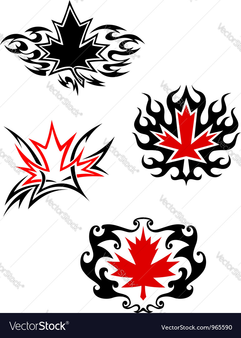 Maple leaf mascots vector | Price: 1 Credit (USD $1)