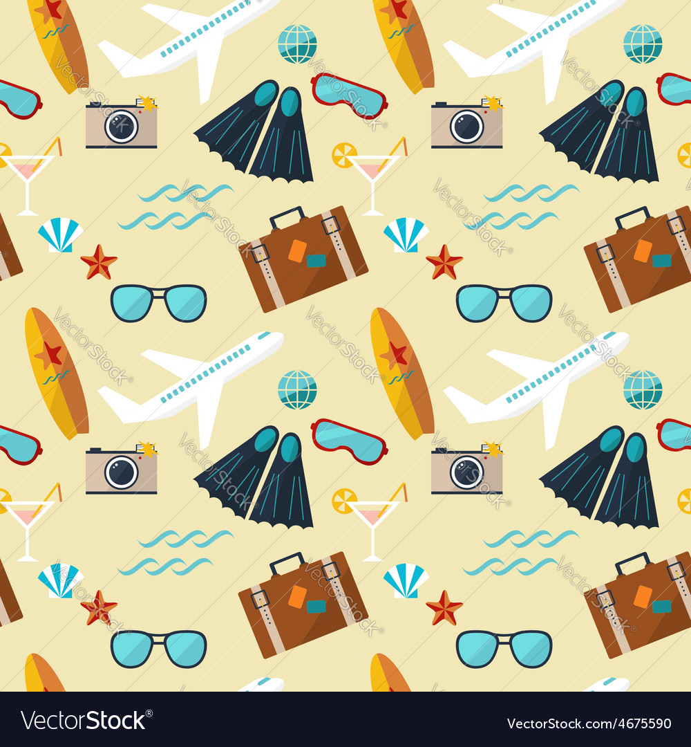 Summer seamless flat pattern vector | Price: 1 Credit (USD $1)