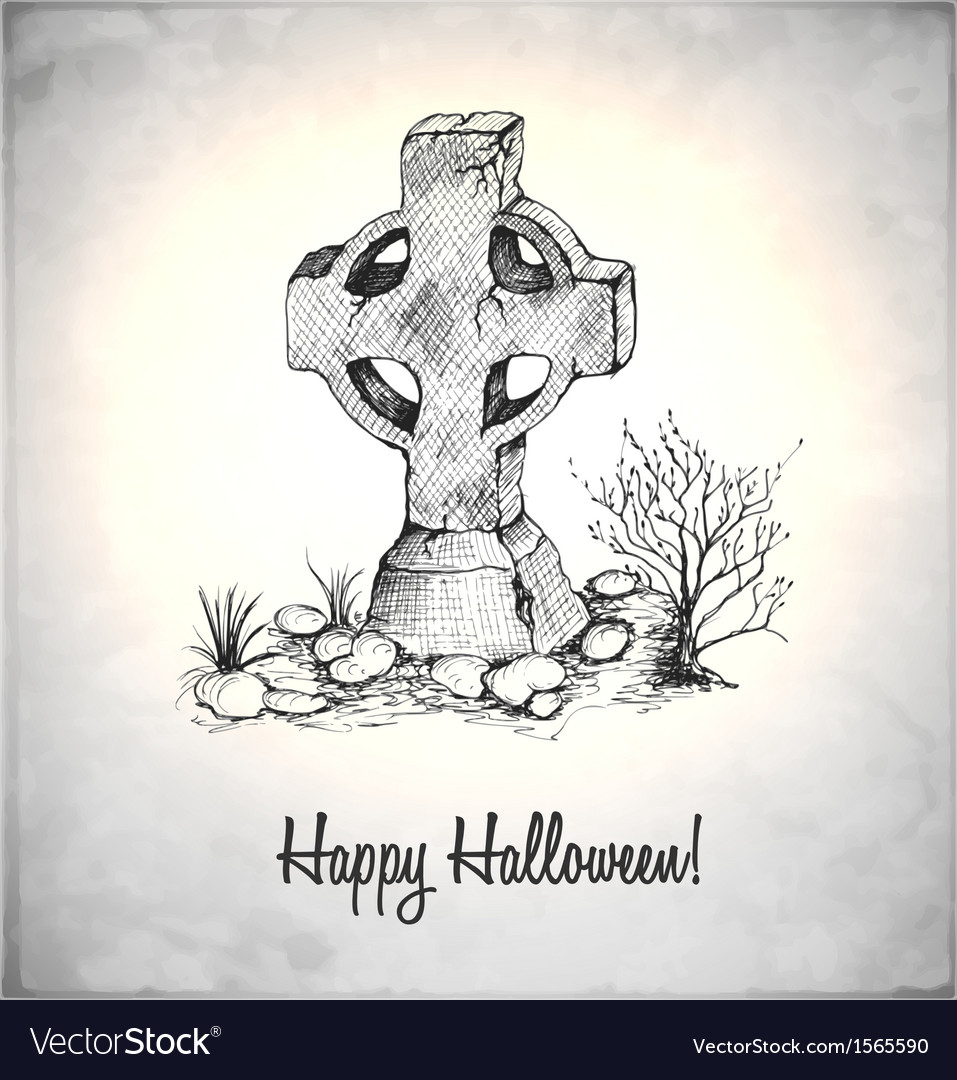Tombstone in a sketch style vector | Price: 1 Credit (USD $1)