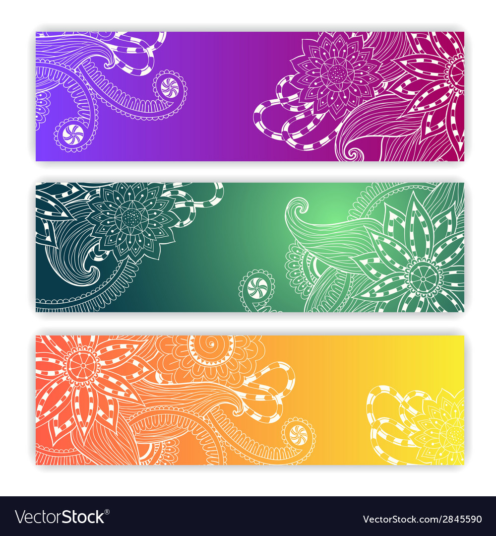 Unique pattern card set with art flowers vector | Price: 1 Credit (USD $1)